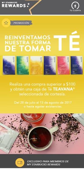 Starbucks: Caja de Teavana Gratis al comprar $100 de consumo