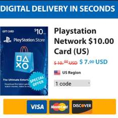 Pcgamesupply: PSN Card $10 a $7 USD