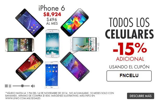 Ofertas del Buen Fin en Linio: cupón 15% de descuento en celulares (iPhone6 $8,924, Galaxy S5 $6537)