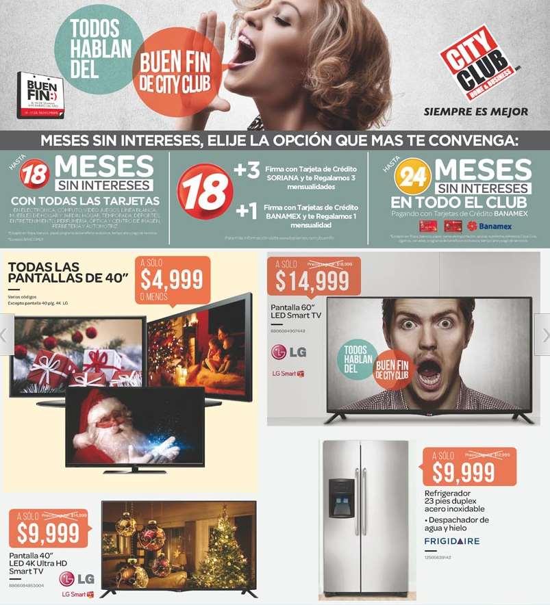 Folleto de ofertas del Buen Fin 2014 en City Club (incluye refrigerador 23' $9,999)