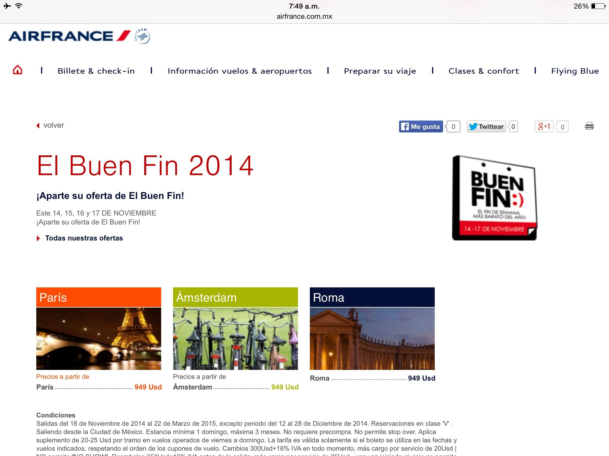 Promoción del Buen Fin 2014 en Air France: París , Amsterdam y Roma redondo por 949 usd