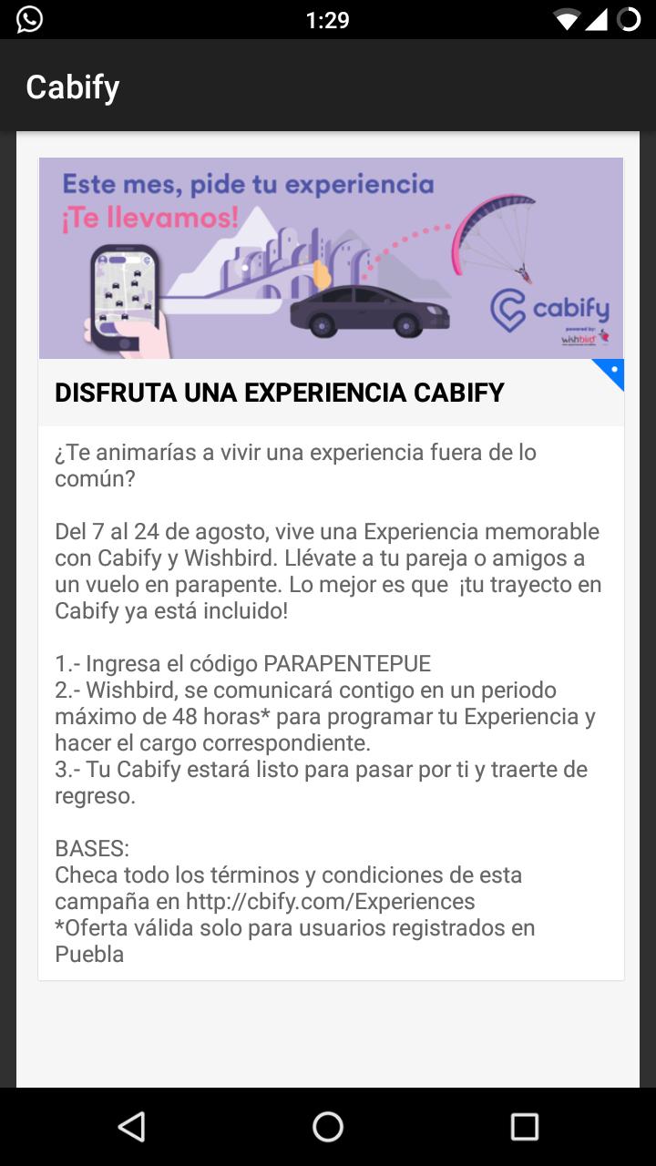Cabify Puebla: Viaje gratis con Wishbird
