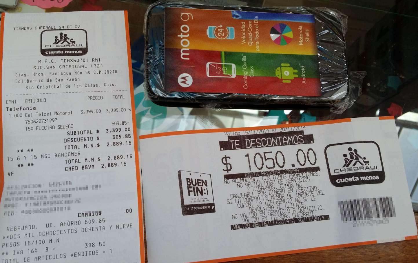 Ofertas del Buen Fin en Chedraui: Moto g 16 GB xt1032 $1,850 después de bonificaciones