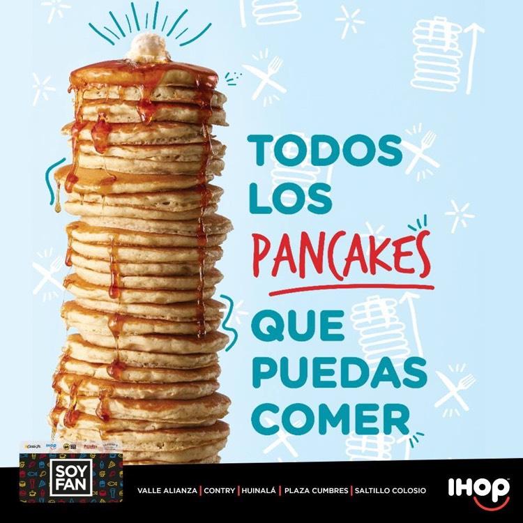 IHOP: Todos los Pancakes que pueda comer por $59 (con Tarjeta Soy Fan en algunas sucursales)