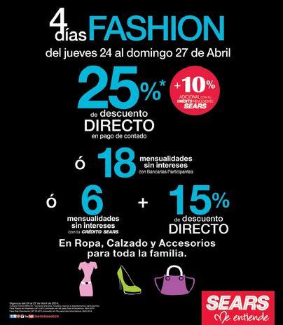 4 días Fashion en Sears: 25% de descuento en ropa, calzado y accesorios