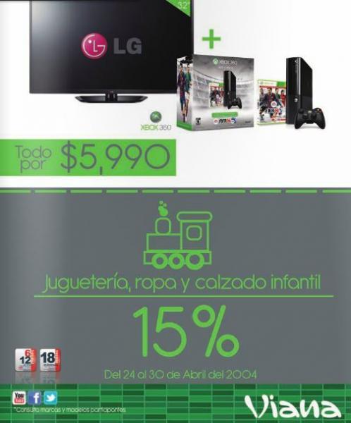 """Viana: Xbox 360 + pantalla LED LG 32"""" $5,990 y 15% de descuento en juguetes y ropa de niños"""