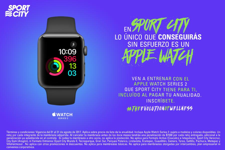 Sport City: Apple Watch 2 de regalo al pagar anualidad.