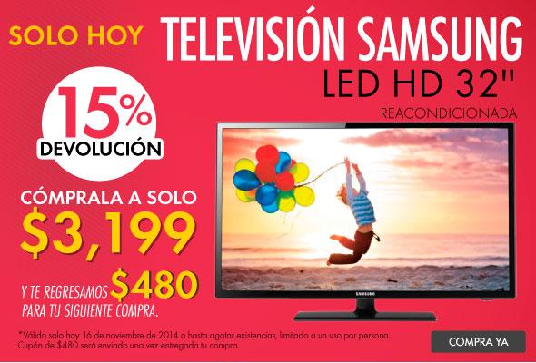 Linio: Televisión Samsung UN32EH4003 LED HD 32'' Reacondicionada $2,364 ó $2,559