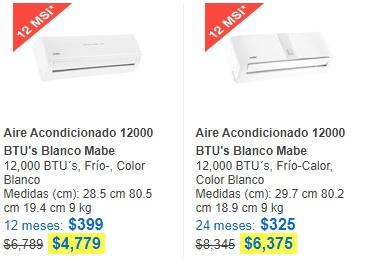 Tienda Telmex: Aire Acondicionado Mabe 12000 BTU's Blanco con cargo recibo telmex
