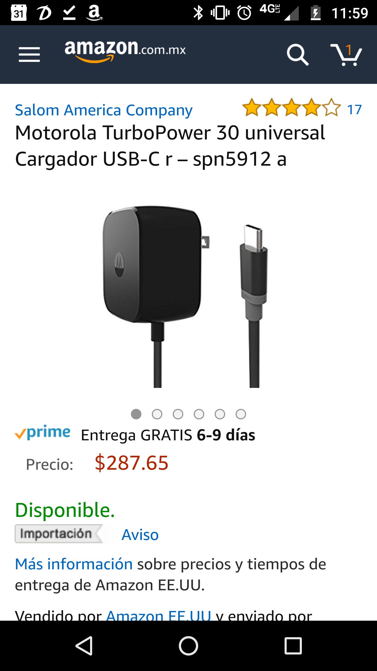 Amazon: Cargador Motorola turbo power usb-c de 30w