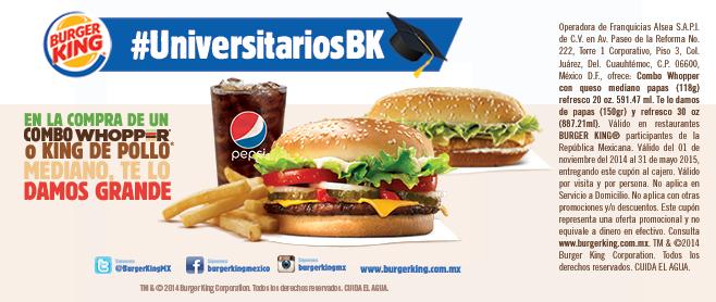 Burguer King: cupón gratis para agrandar combo (estudiantes)