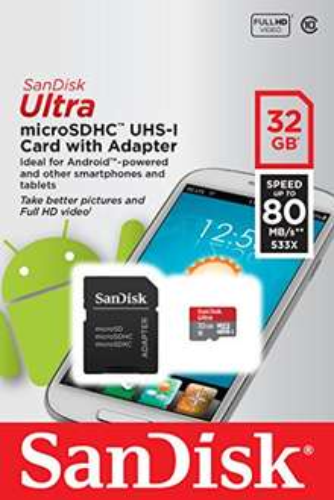 Amazon: Sandisk SDSQUNC-032G-GN6MA Ultra Tarjeta de Memoria MicroSDHC 32 GB, 80MB/s
