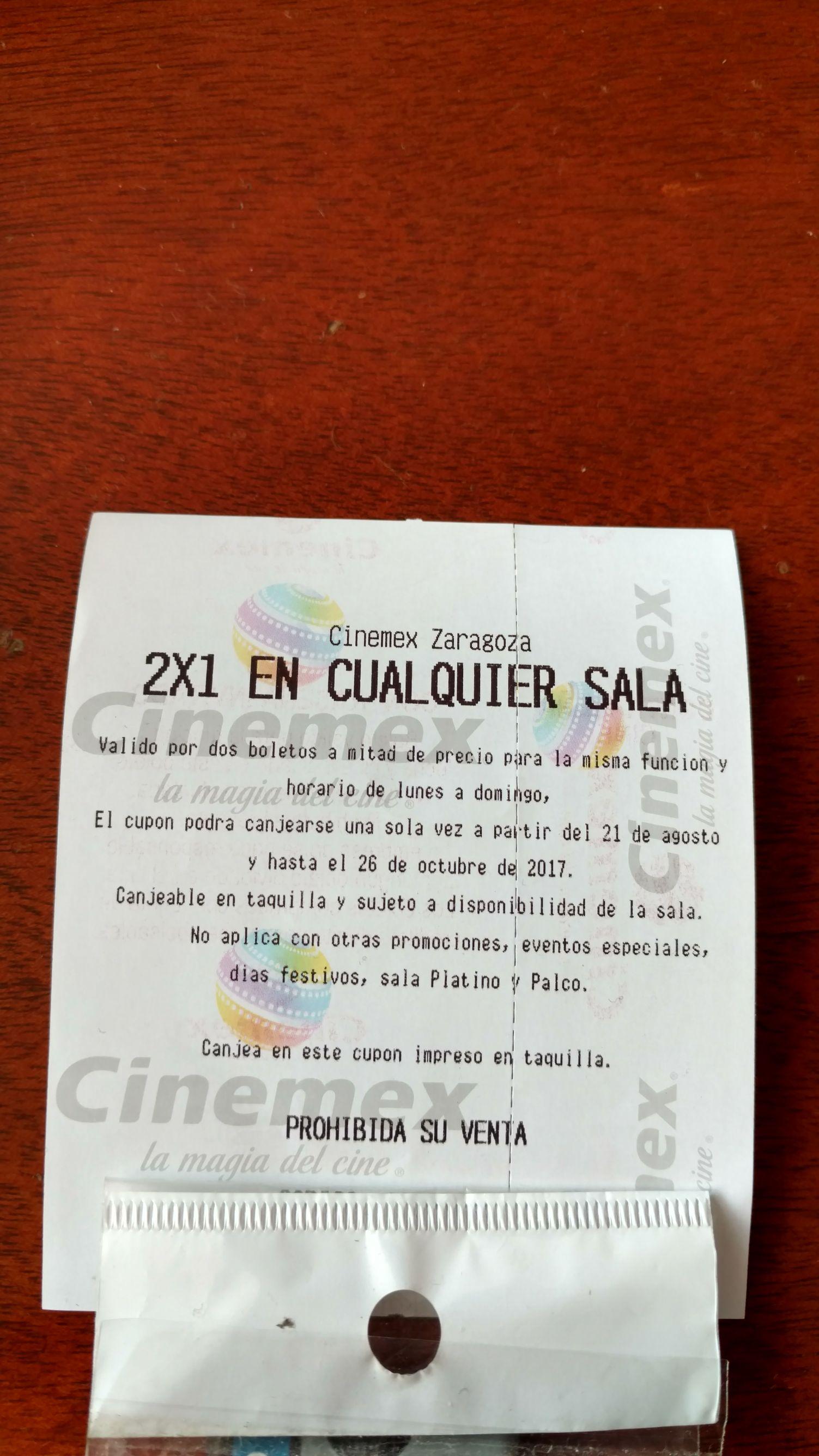Cinemex: obten un 2x1 en cualquier sala en tu siguiente visita