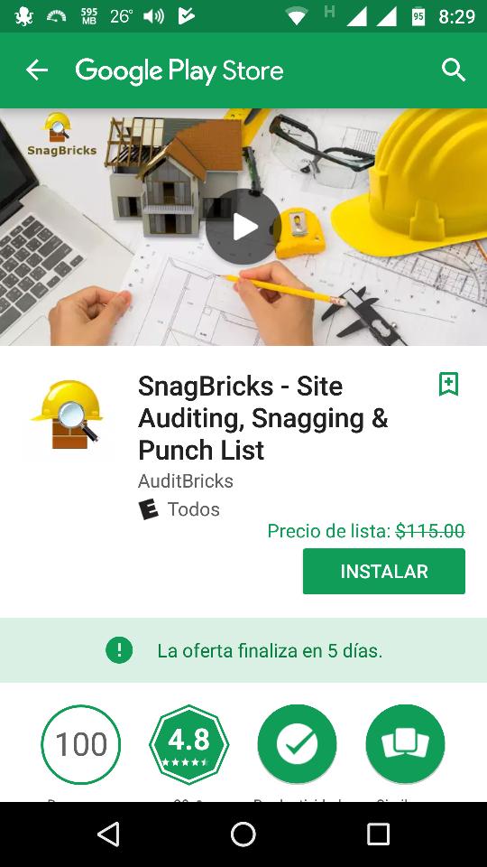 "Google Play: GRATIS   ""SnagBricks - Site Auditing, Snagging & Punch List""."