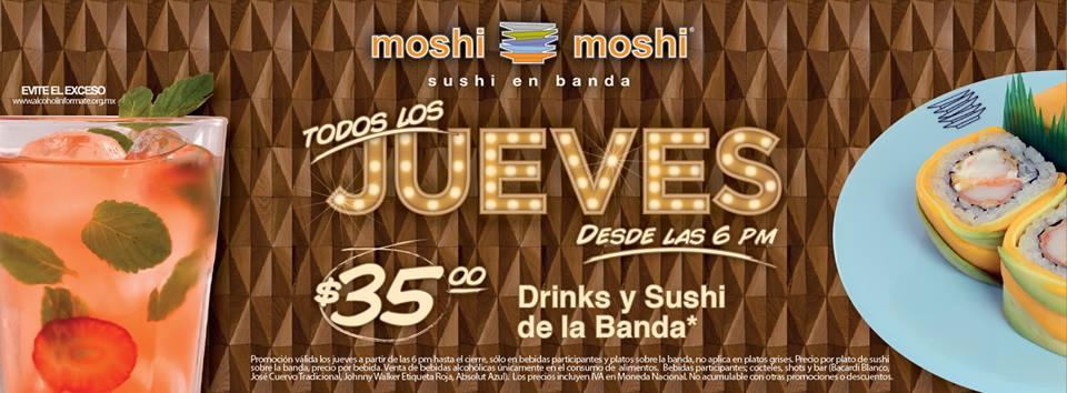 Moshi Moshi: Todos los jueves $35 el sushi de banda y promoción de aniversario