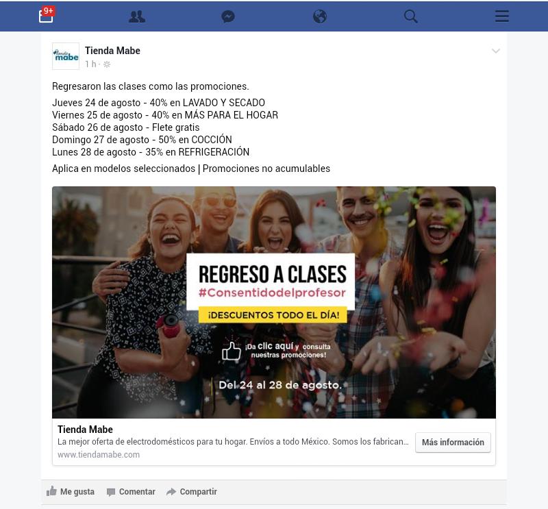 Tienda Mabe Online: Diferentes descuentos del jueves 24 al Lunes 28 de Agosto