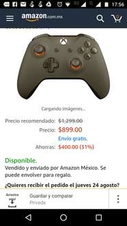 Amazon: Control inalámbrico para Xbox One, color Verde Militar a $899