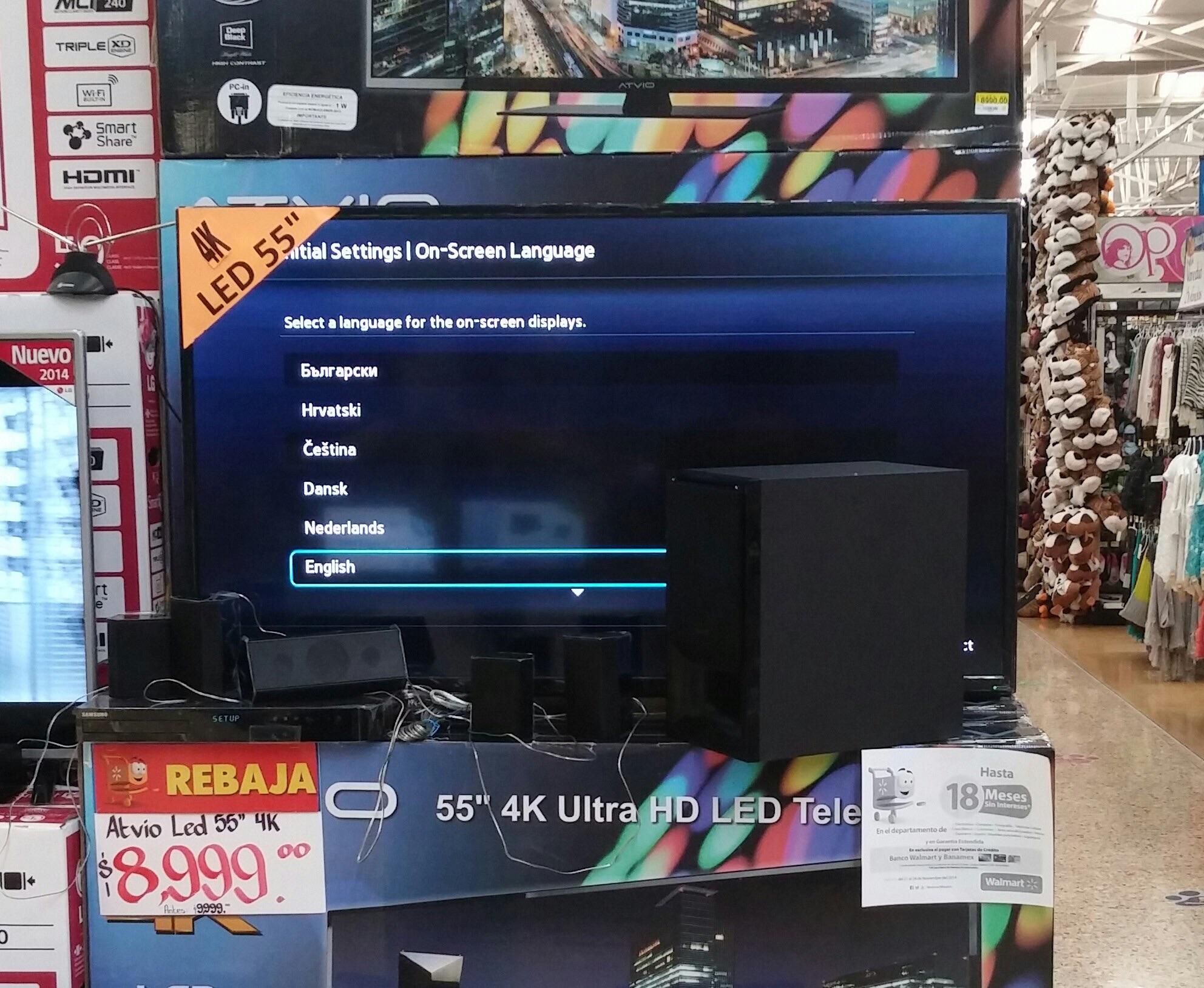 "Walmart: Pantalla Led Atvio RC3045 De 55"" 4K UHD 120Hz $8,999"