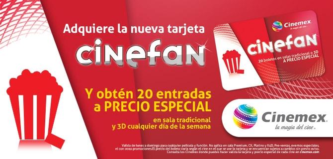 Tarjeta cinefan a $50 pesos con 20 entradas a precio especial