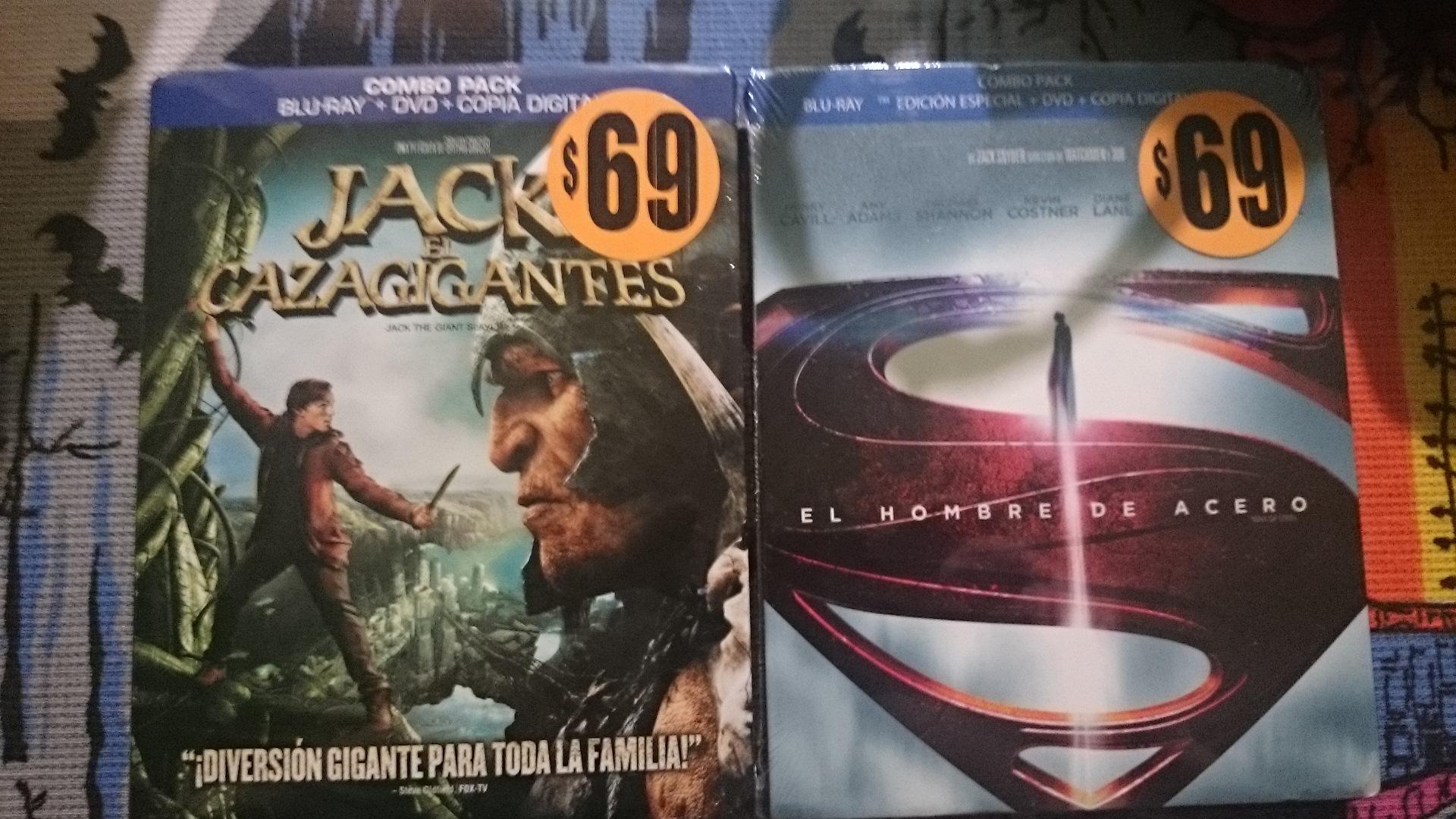 Walmart: Bluray+DVD+Copia Digital de El hombre de acero o Jack cazagigantes $69