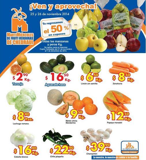 Ofertas de frutas y verduras en Chedraui 25 y 26 de noviembre