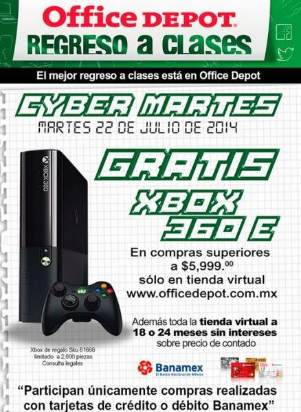 CyberMartes Office Depot: Xbox 360 gratis con compra de $6,000