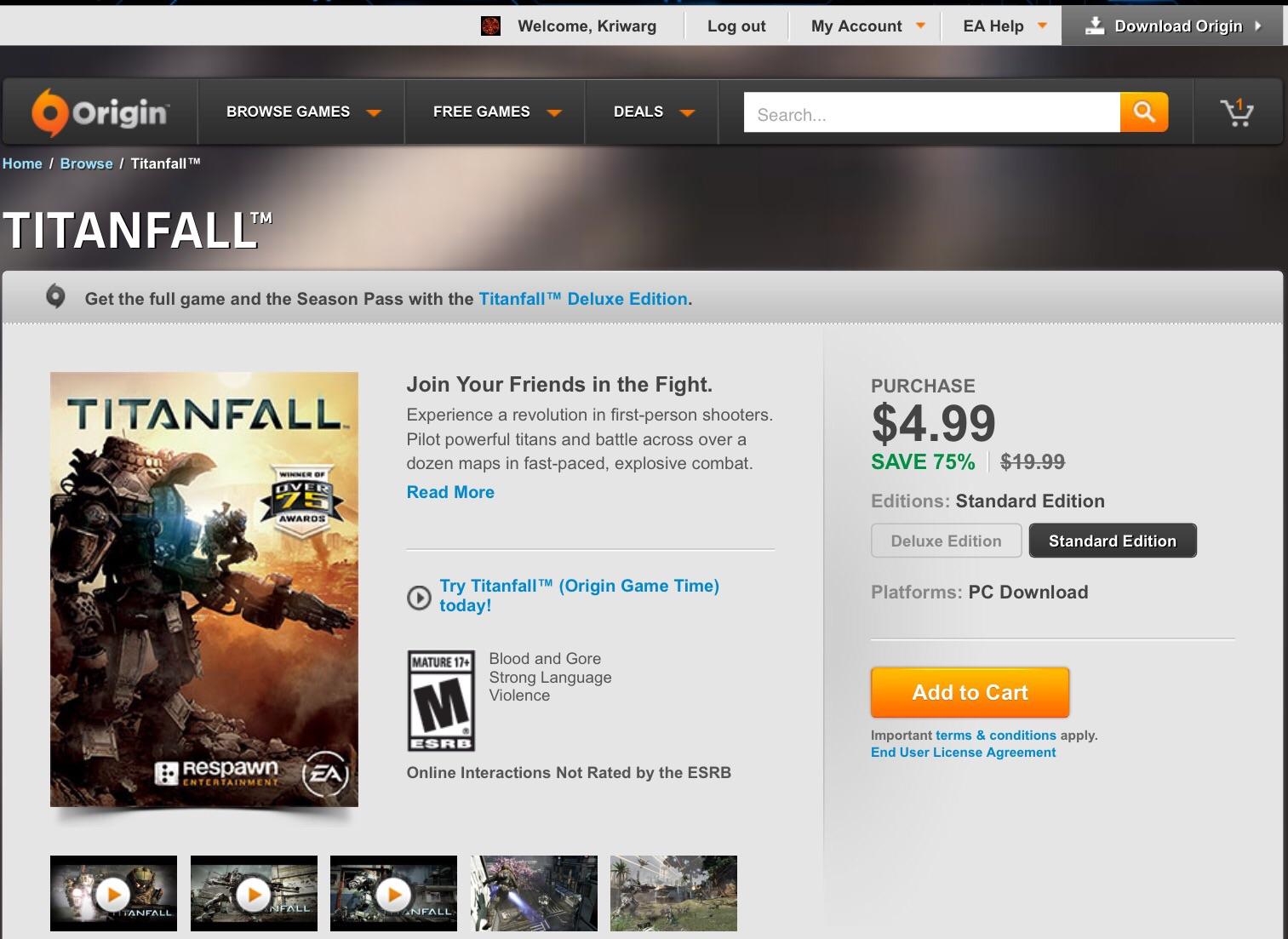 ORIGIN: Titanfall con 75% de descuento