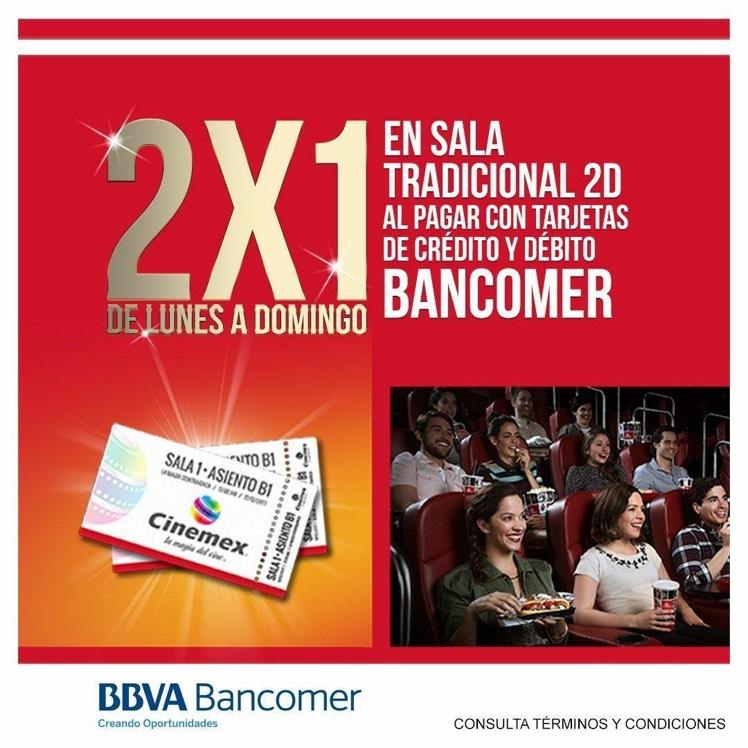 Cinemex: 2x1 en salas 2D pagando con Bancomer