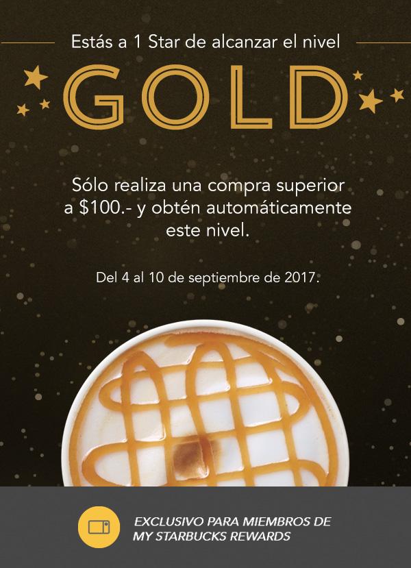 Starbucks: Subir a nivel gold con compra superior a $100