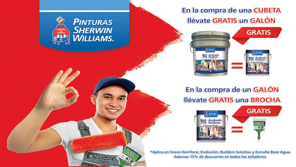 sherwin williams: galón gratis en la compra de una cubeta
