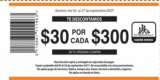 Chedraui: Cupon de $30 de descto por cada $300 (10% de ahorro) en tienda