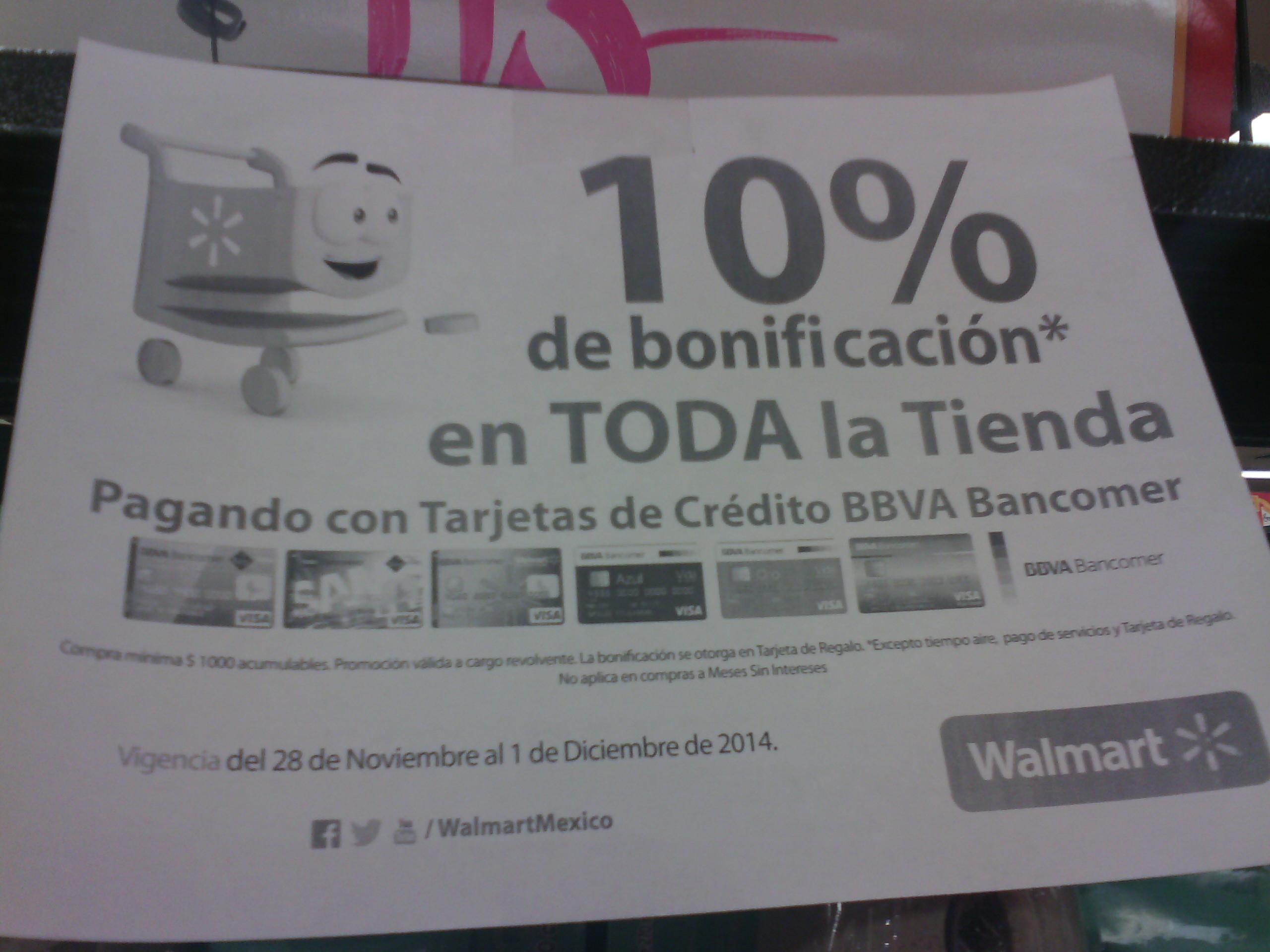 Walmart: 10% bonificación en toda la tienda con Bancomer