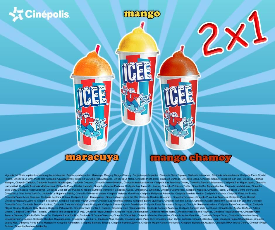 Cinépolis: 2x1 en Icee sabor mango, chamoy y maracuya
