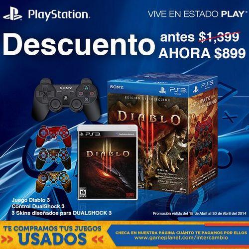 Diablo III + control PS3 $899, juego Diablo III $594 y control DualShock 3 $449