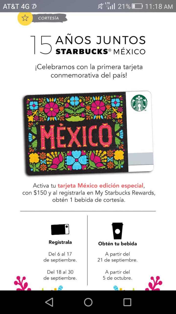 Starbucks: bebida de cortesía al activar tarjeta de México con $150