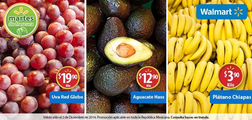 Martes de frescura en Walmart diciembre 2: uva $20, plátano $4 y más