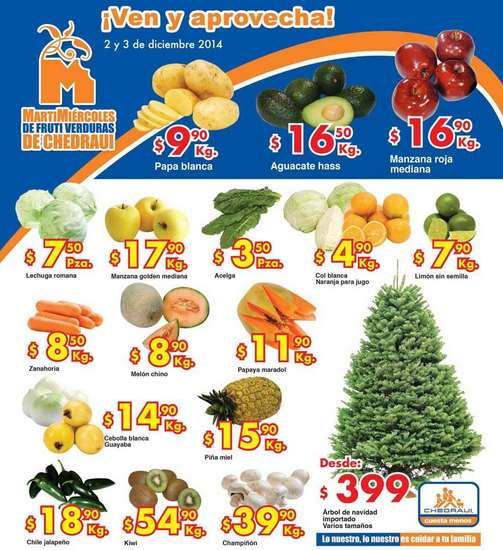 Ofertas de frutas y verduras en Chedraui 2 y 3 de diciembre