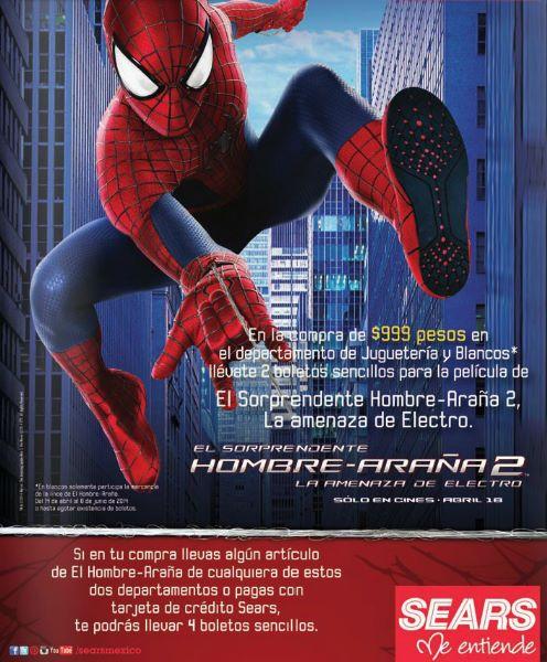 Sears: 2 ó 4 boletos gratis para ver Spider-Man 2 con compras participantes