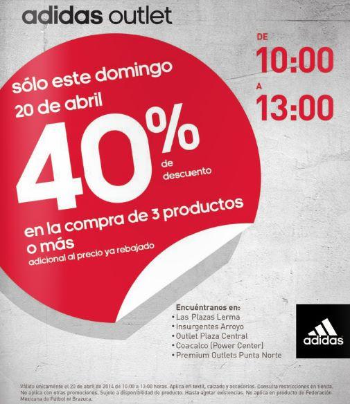 Adidas Outlet: 40% de descuento adicional comprando 3 artículos este sábado