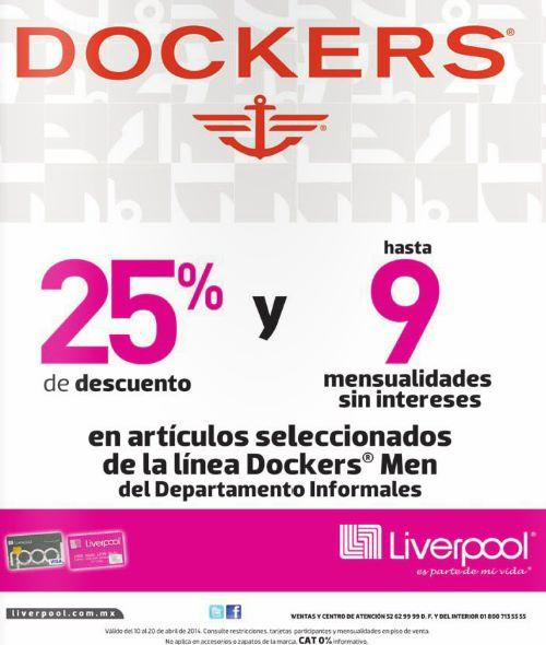 Liverpool: 25% de descuento en meses sin intereses y meses sin intereses en Dockers Men