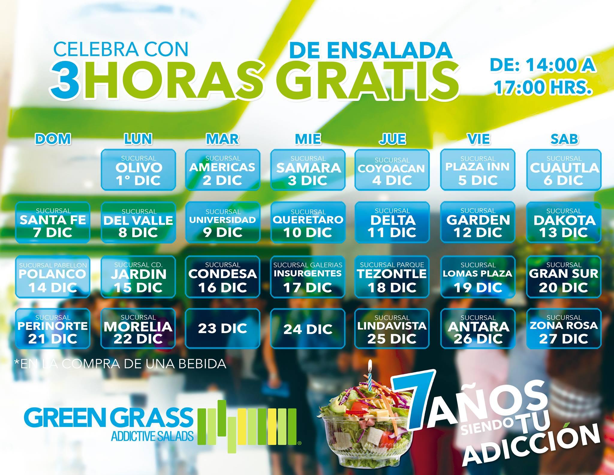 Restaurantes Green Gras: 3 hrs. de ensalada gratis comprando bebida.