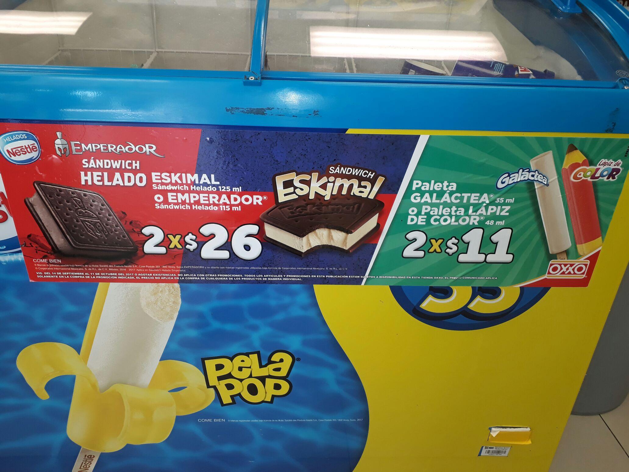 Oxxo: sándwich Eskimal 2 x $26 y paleta Galactea o Lápiz de color 2 x $11
