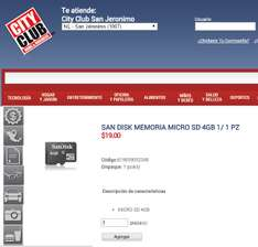 City Club: Memoria Micro SD Sandisk 4 GB $19