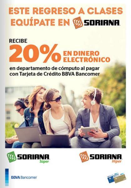 Soriana: 20% de bonificación en cómputo con Bancomer