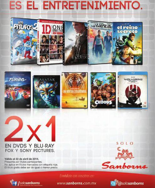 Sanborns y Sears: 2x1 en DVDs y blu-rays