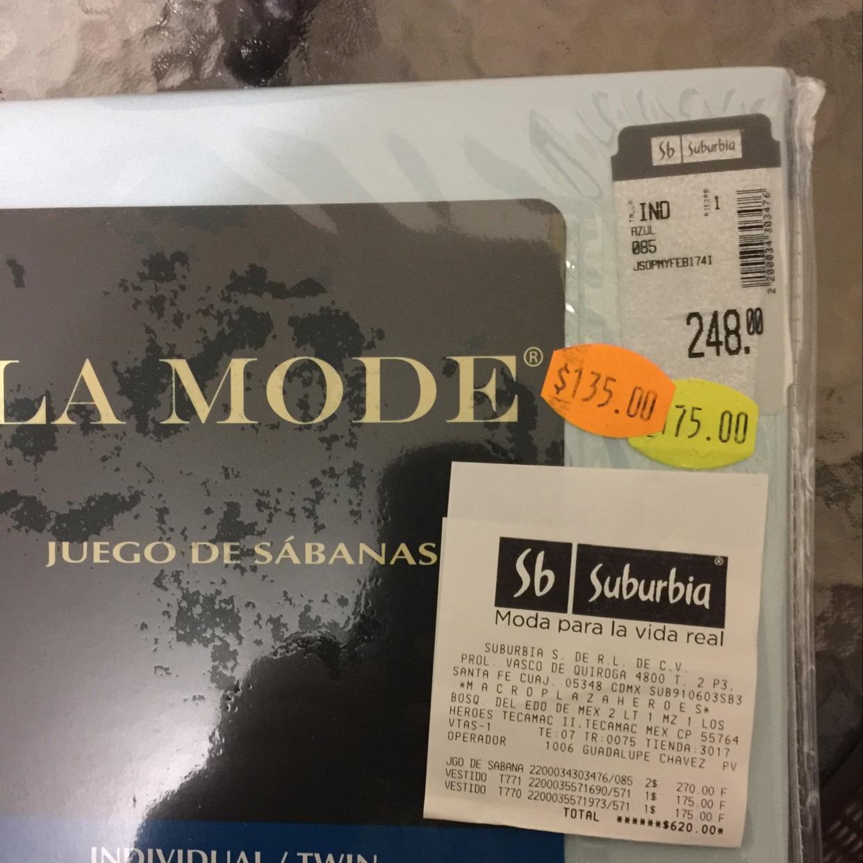 Suburbia: juego de sabanas individuales  de $248 a $135