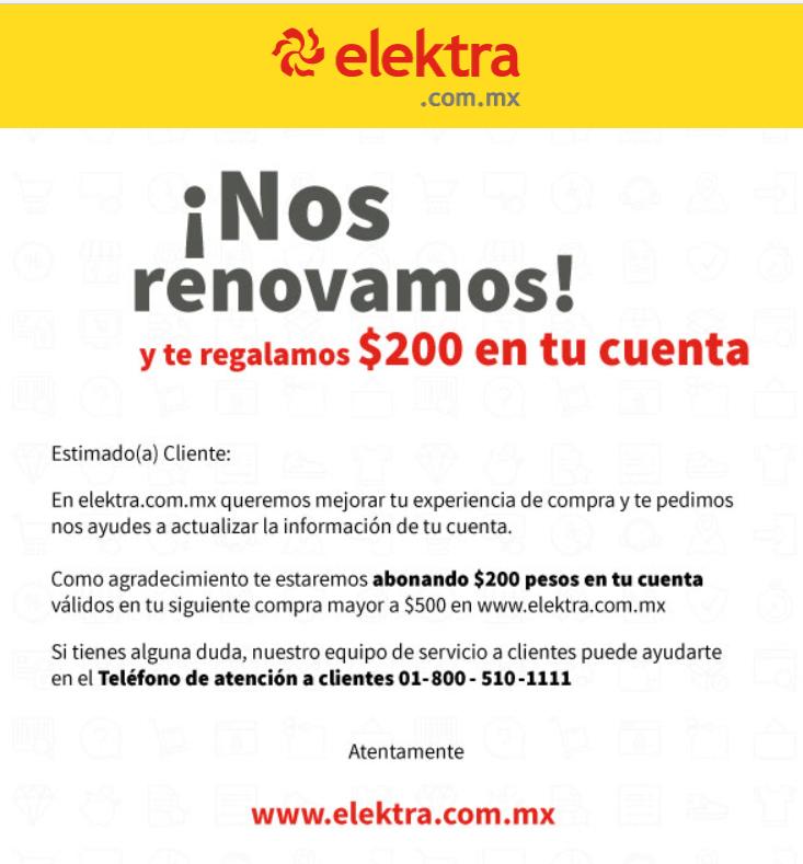 Elektra.com.mx: se renueva y cupon de $200 al actualizar los datos de tu cuenta (para tu próxima compra mínima de $500)