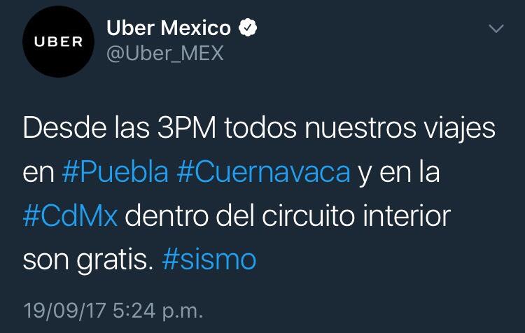 Sismo: UBER da viajes gratis en Puebla, Cuernavaca y CDMX (dentro del circuito interior)