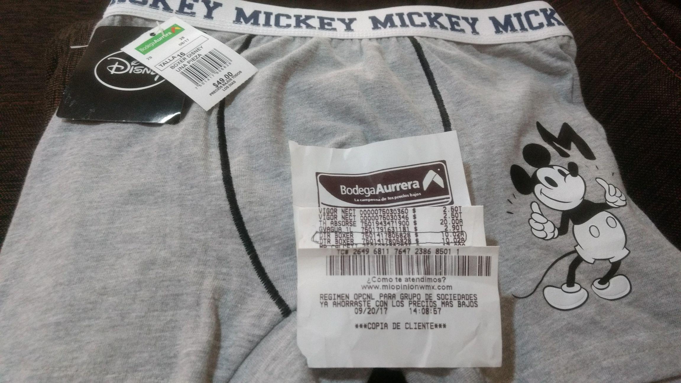 Bodega Aurrerá: Boxer de niño Mickey mouse a $10.02