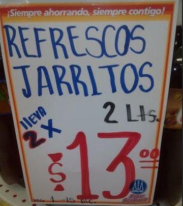 Farmacias Guadalajara: 2 refrescos Jarritos de 2 litros por $13